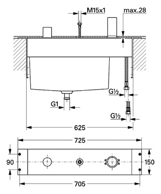 Base Frame for Allure 3-Hole Bath Combination   Alfred ...